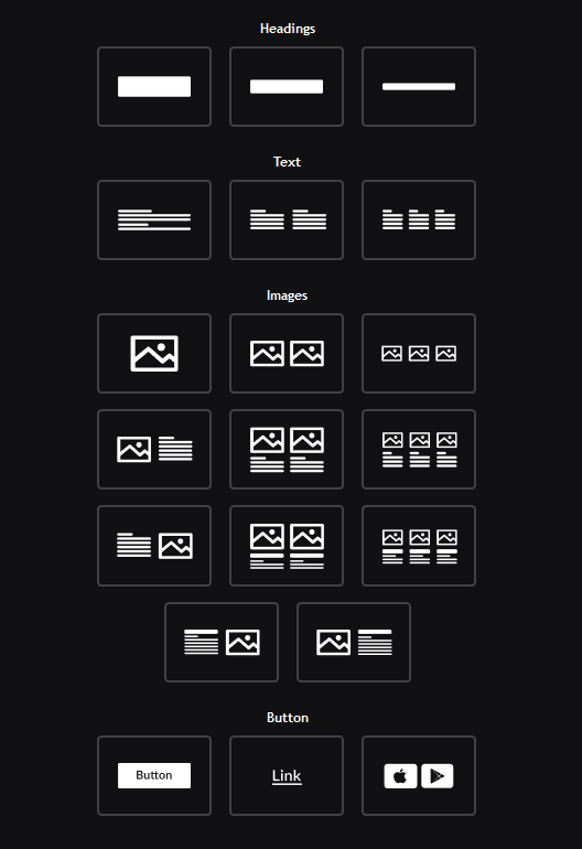 adding different types of blocks