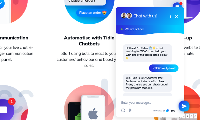 Tidio FAQ chatbo response