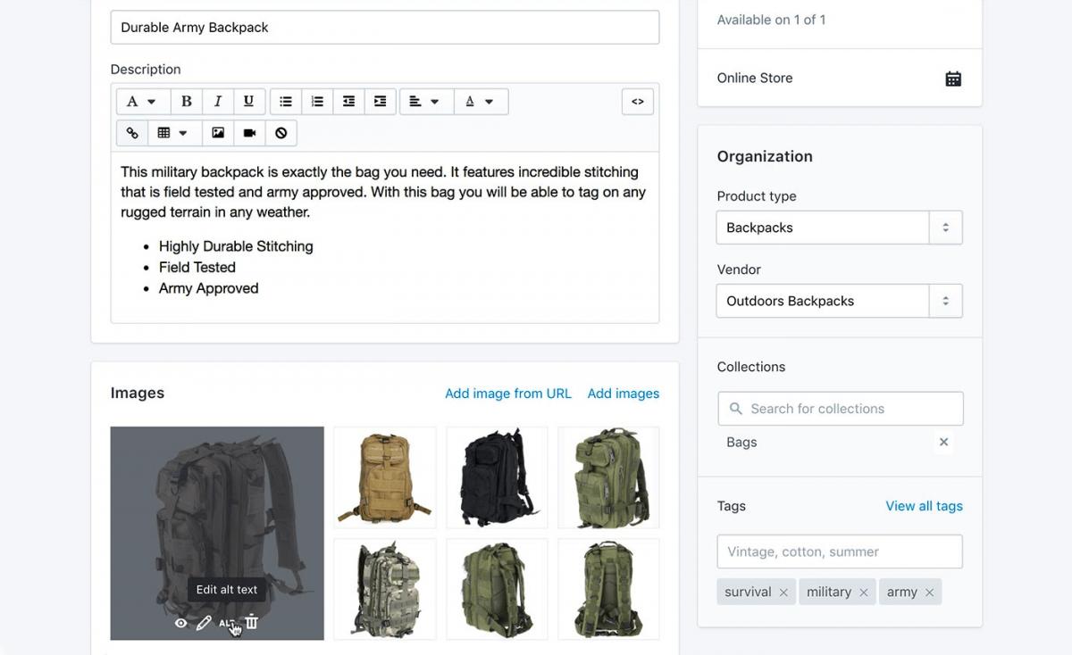 Product descriptions for Shopify