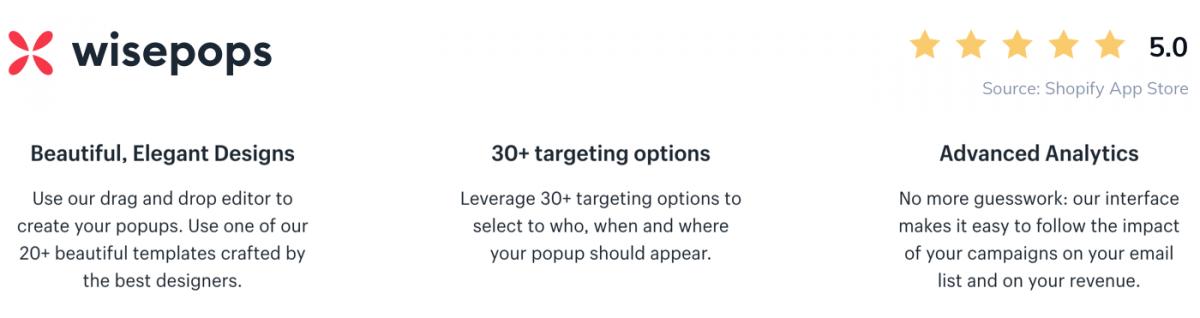Screenshot of WisePops app on Shopify Store