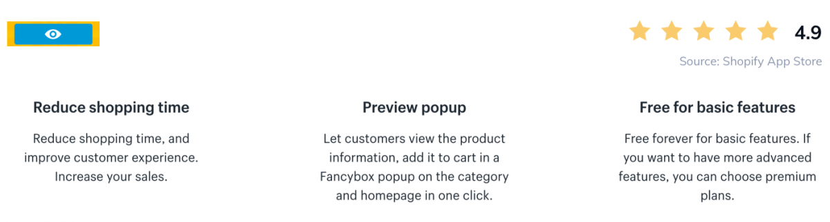 Screenshot of QuickView app on Shopify Store