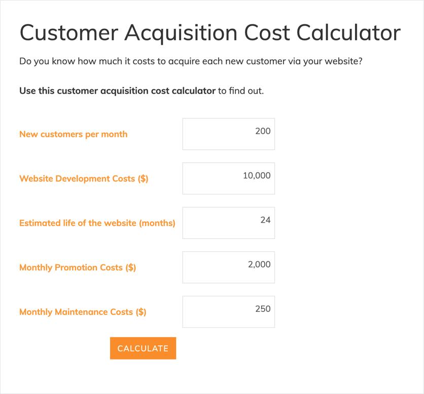 Screenshot of a CAC calculator app