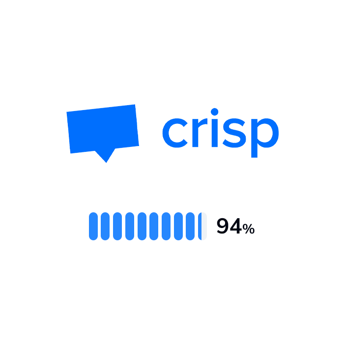 The logo and rating of Crisp