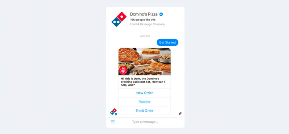 Screenshot of the Domino's Chatbot