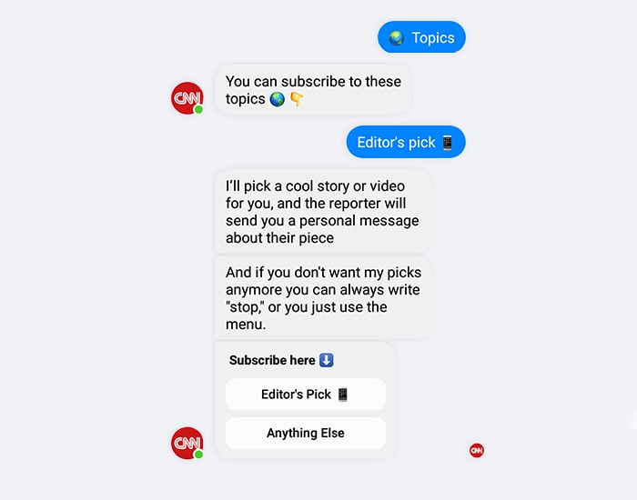 Screenshot of the CNN Chatbot