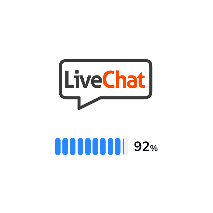 The logo and rating of LiveChat