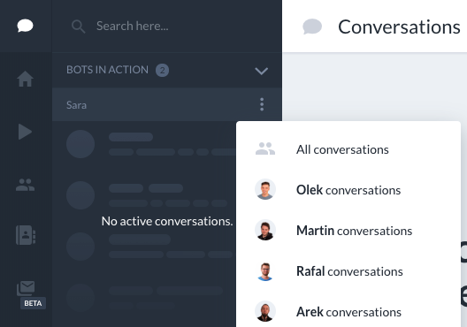 "The ""All"" button is located on the left side in your conversations panel"