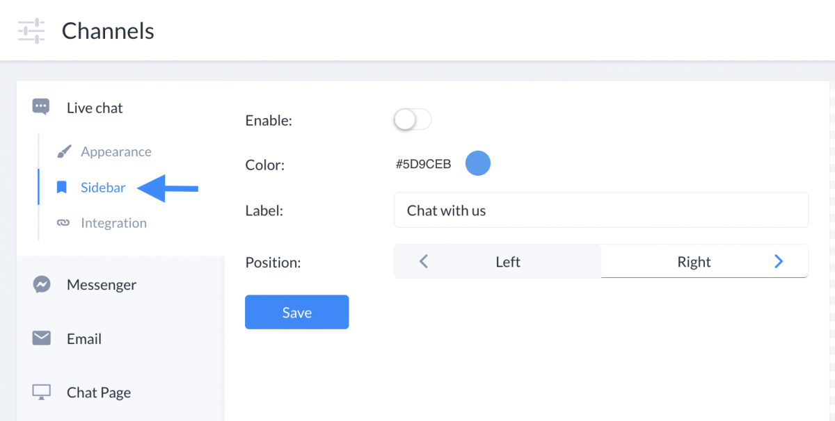 Sidebar settings panel is located after going to Channels section -> Live Chat -> Sidebar