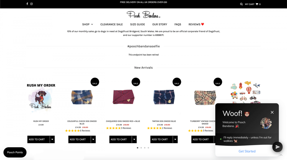 Screenshot of Pooch Bandana website