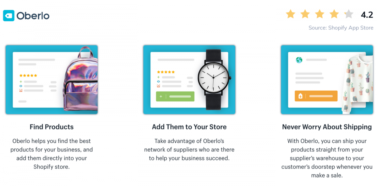 Screenshot of Oberlo app on Shopify Store