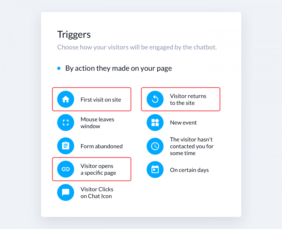 Triggers available in the Tidio editor