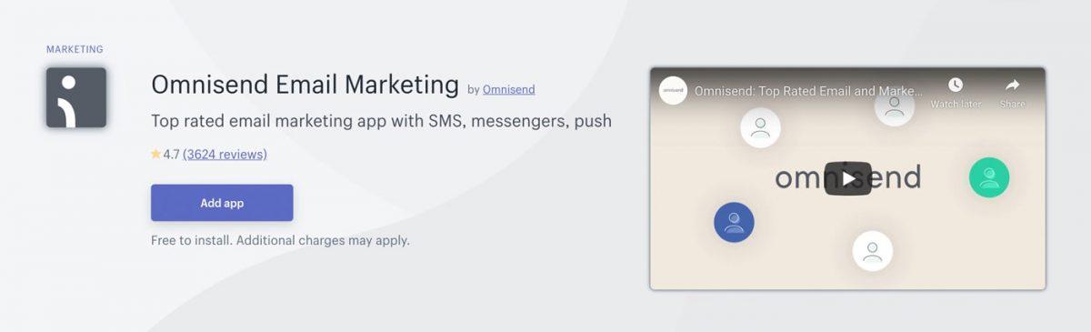Omnisend in Shopify App Store
