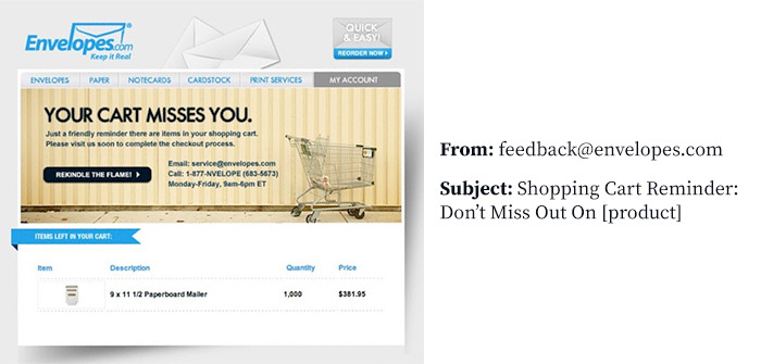 Marketing email example