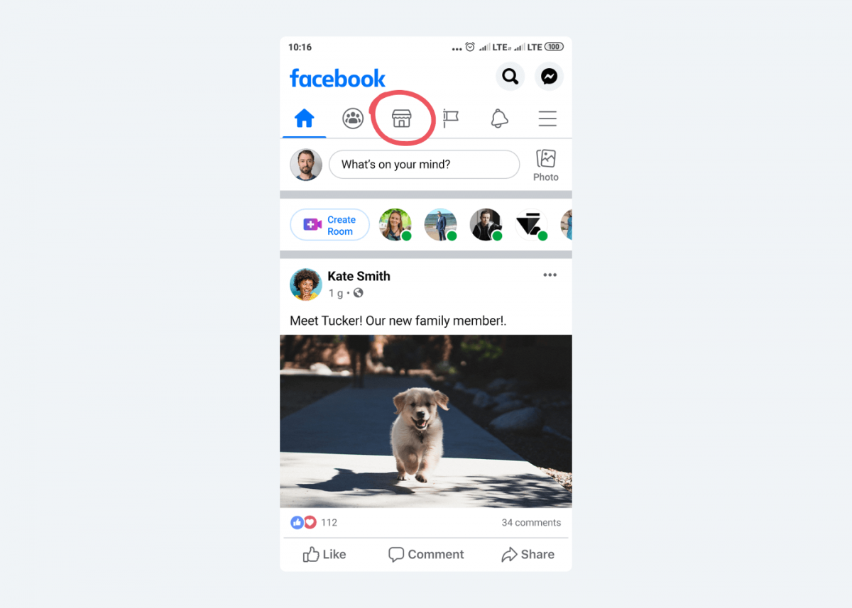 Image showing where to find Facebook Marketplace icon on a portable Android device.