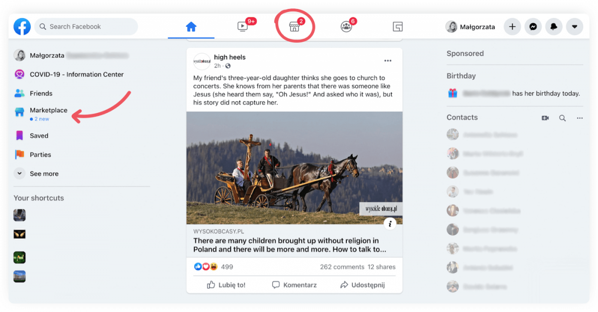 Image showing where to find the Facebook Marketplace icon on a browser.