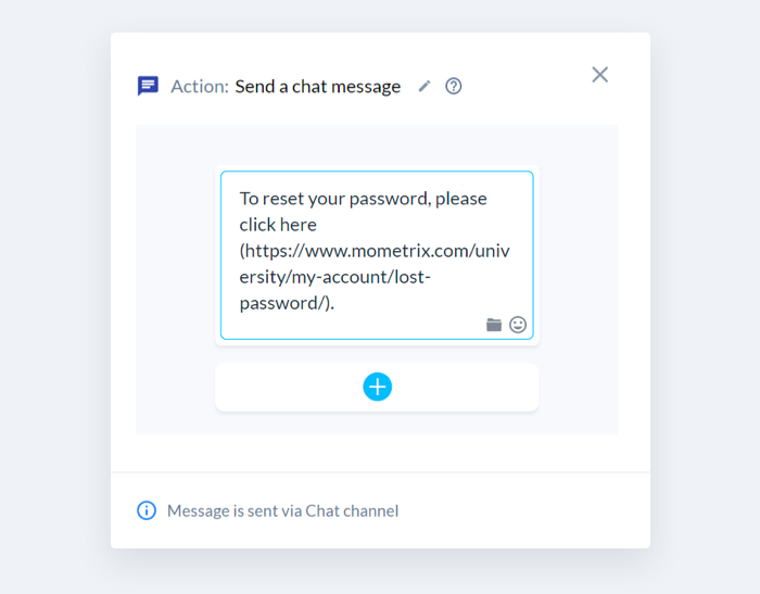 A canned response for resetting user passwords