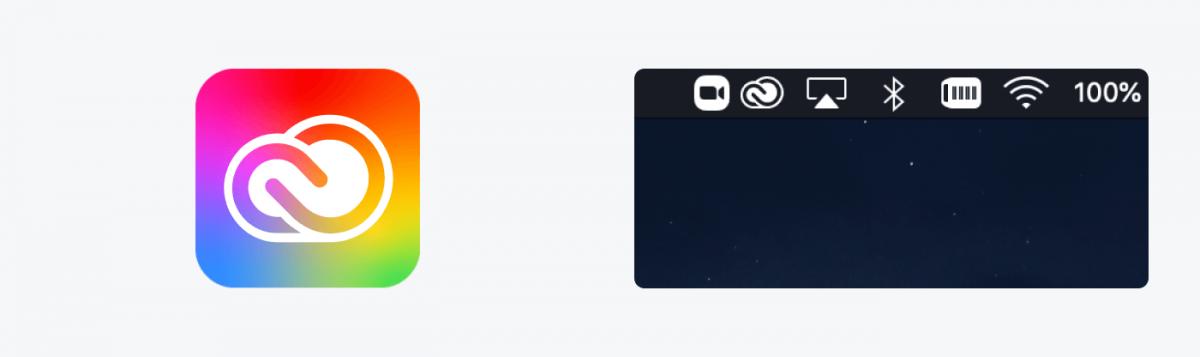 Adobe logo and its usage on a desktop bar
