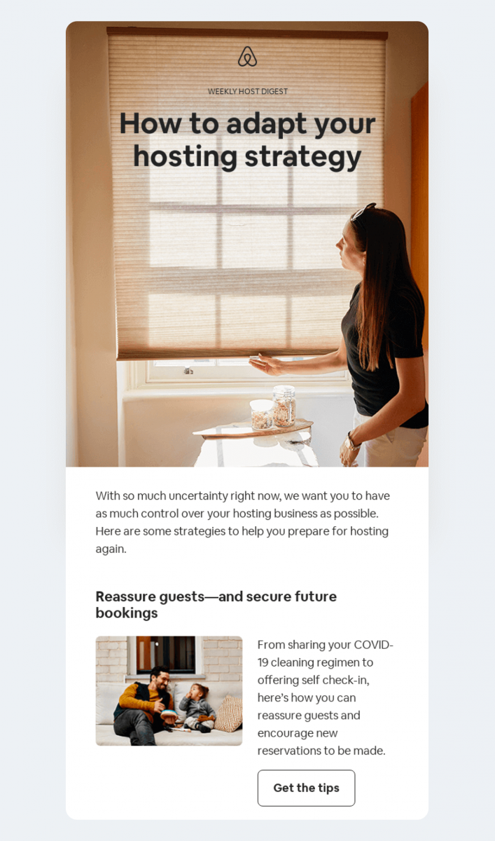 A real-life example of a newsletter email campaign by Airbnb