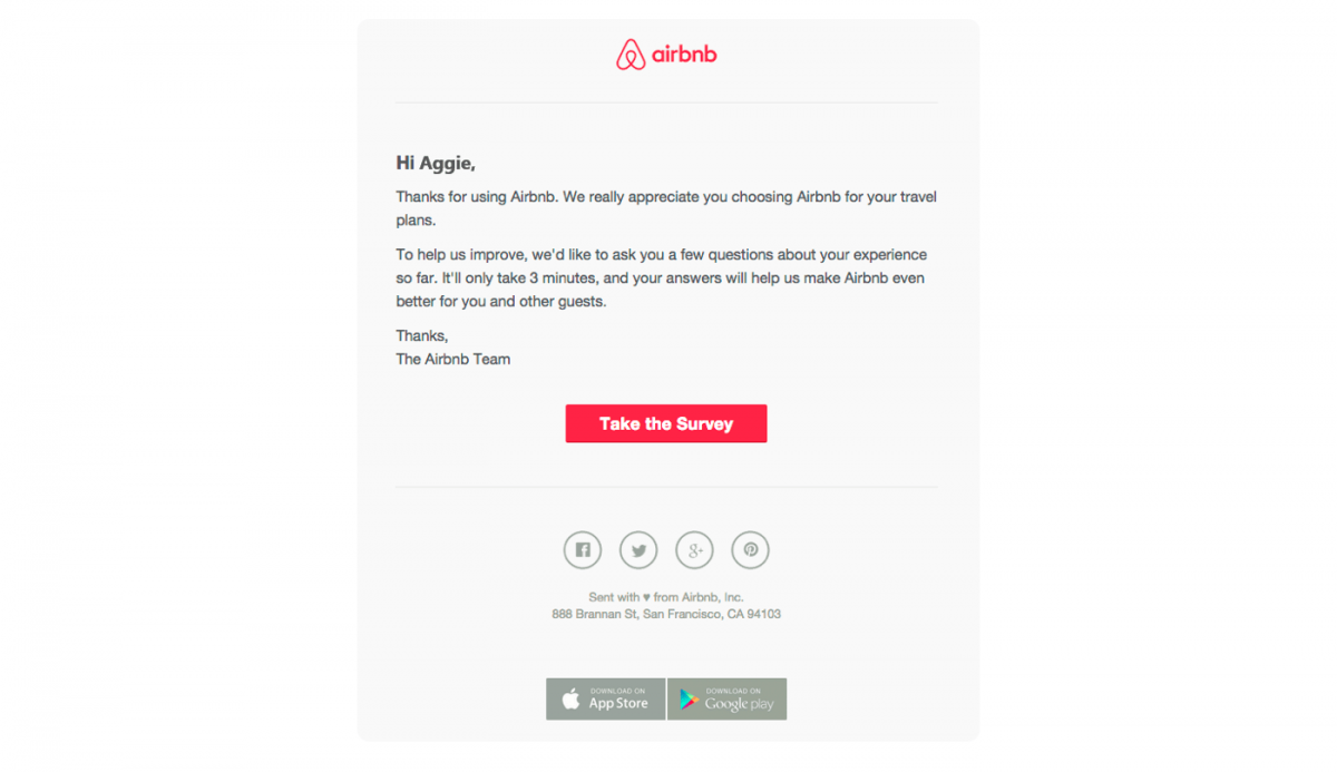 An example of customer satisfaction survey sent via email by Airbnb