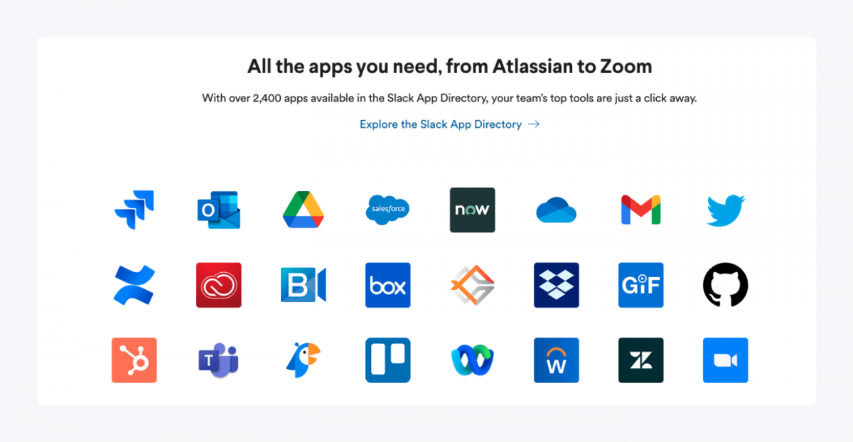 Slack App Directory teaser with icons of apps that are available