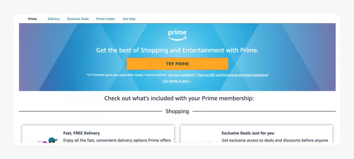 Amazon Prime Membership page