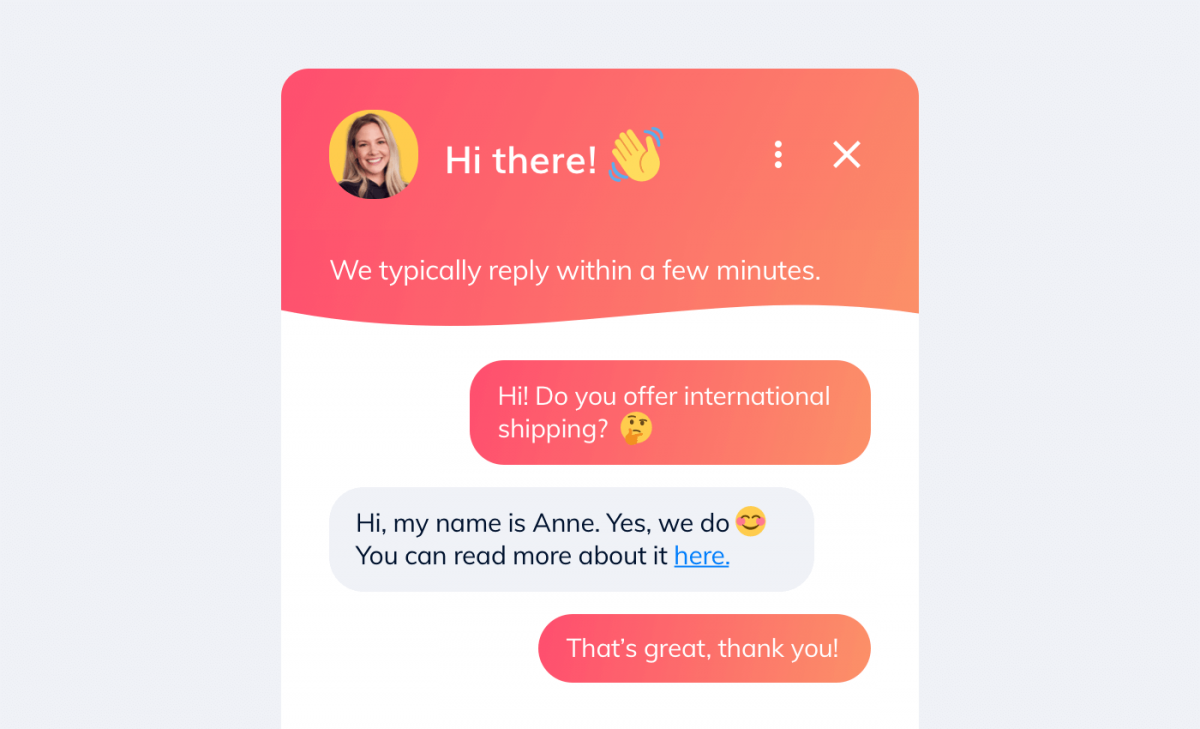 A live chat app used as a relationship marketing tool