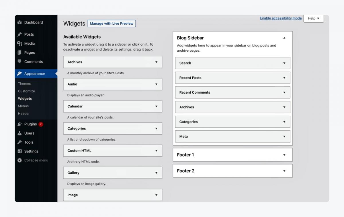 Widgets appearance panel in WordPress