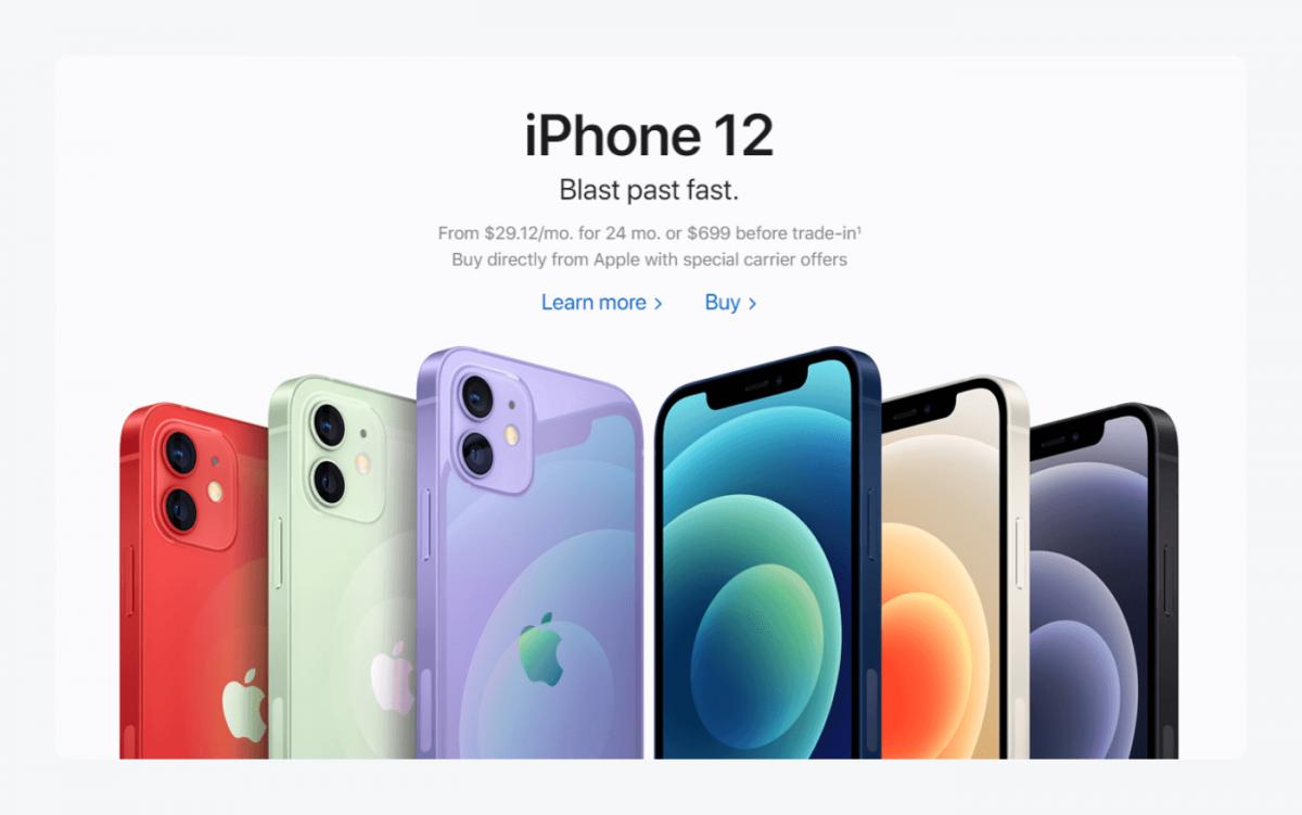 iPhone 12 landing page