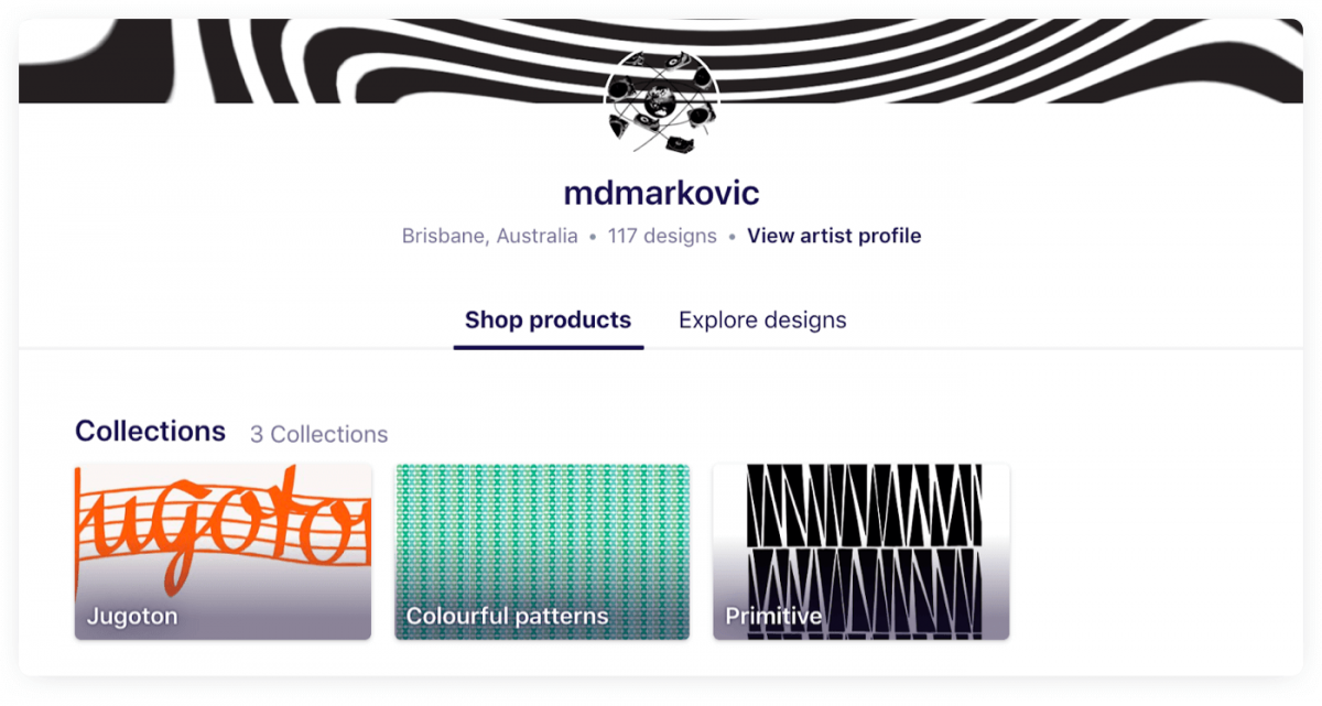 A user profile example on RedBubble, small business idea for a digital artist