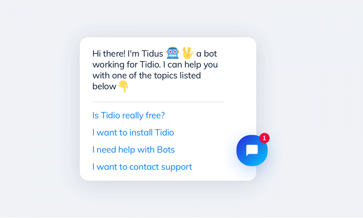 FAQ chatbot created with Tidio editor