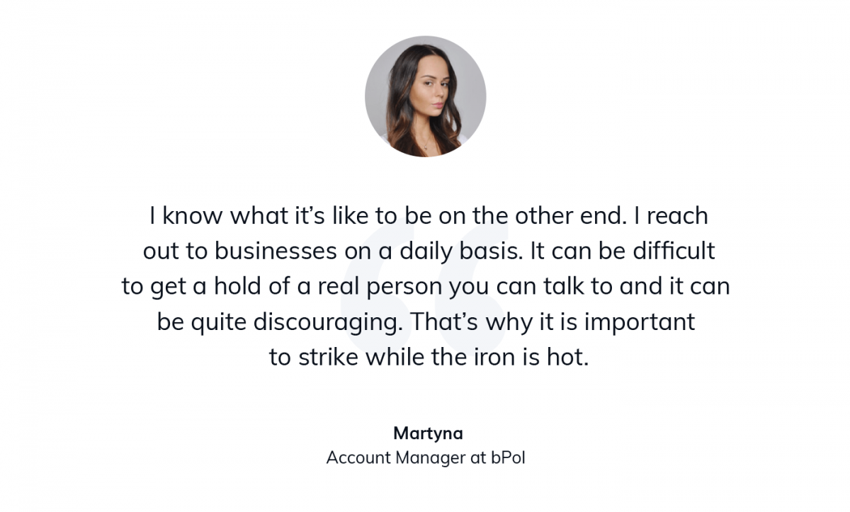 A quote from account manager at digital transformation company