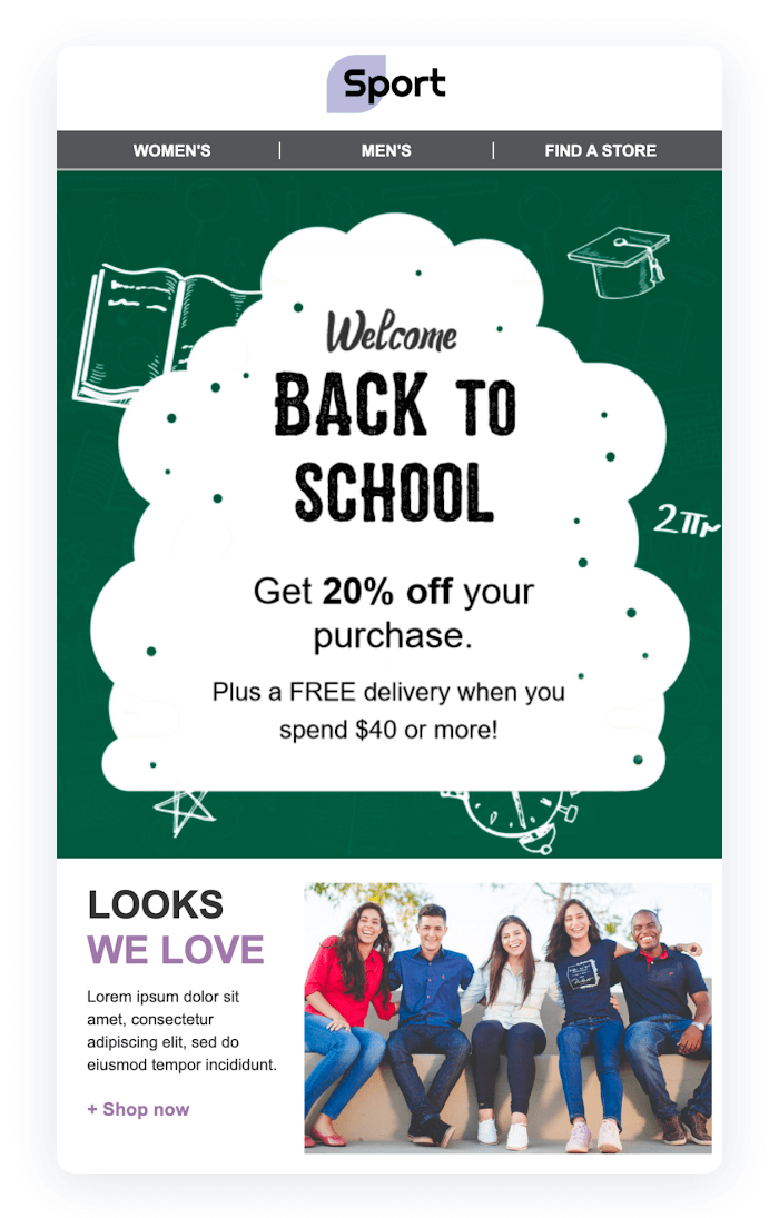 Email newsletter example - Back to School