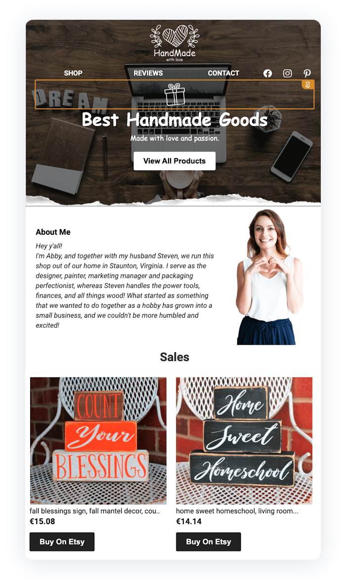 Email newsletter example - Best Handmade