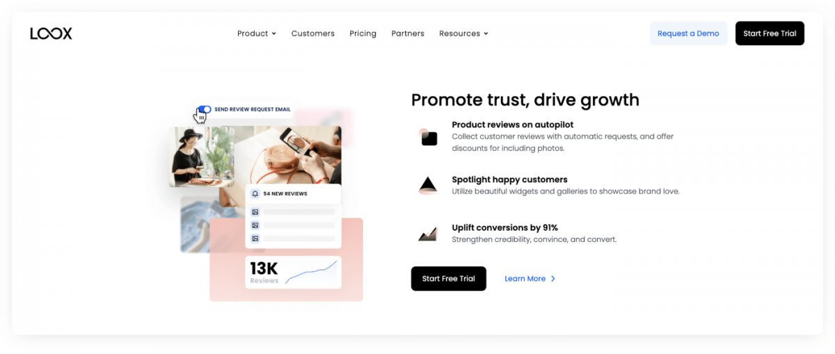 Homepage of Loox Shopify Reviews App