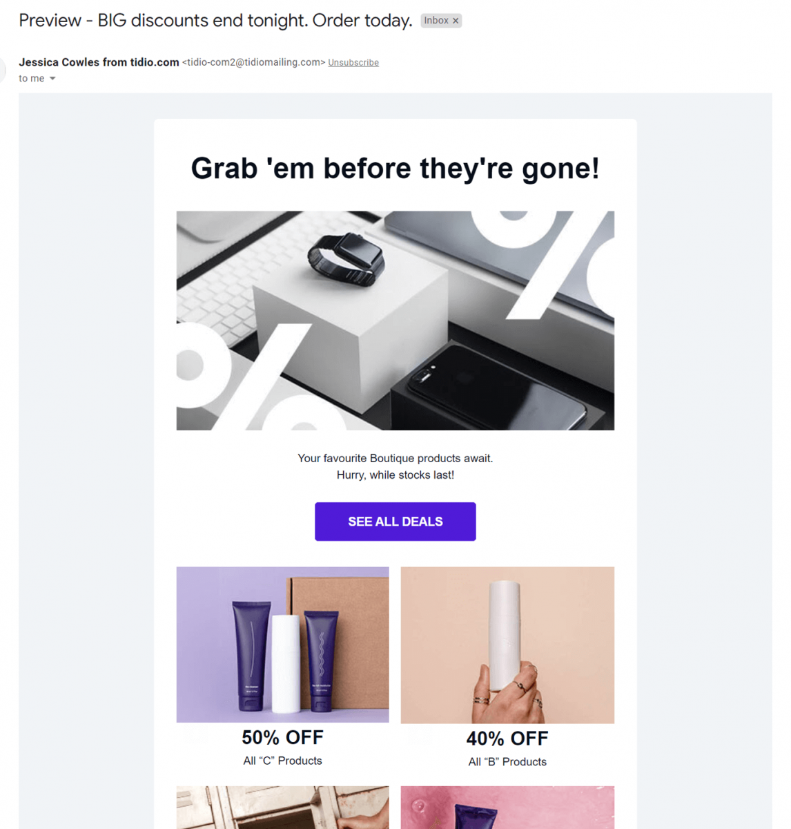 A Black Friday email campaign with a good BF subject line
