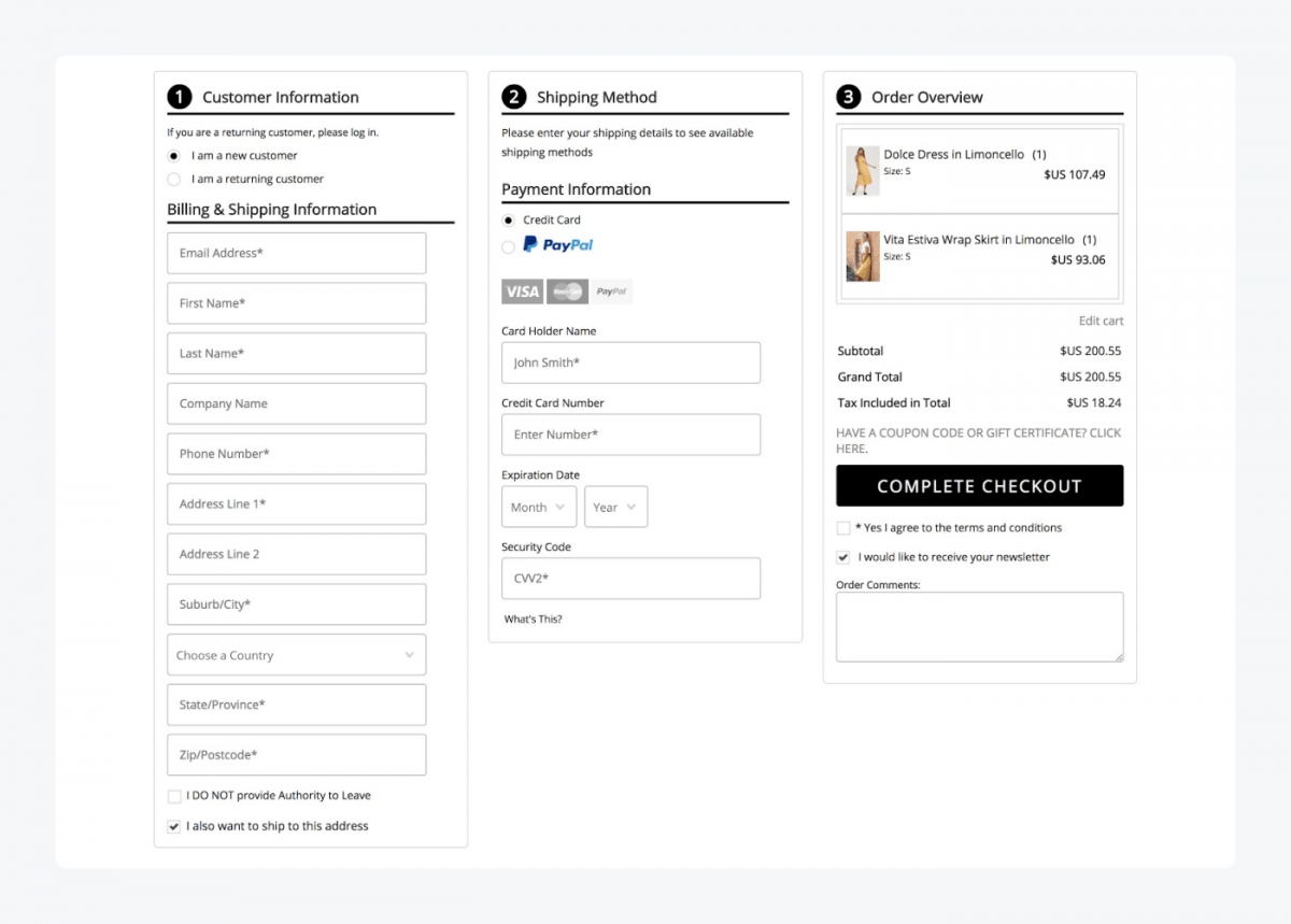 BigCommerce checkout panel view