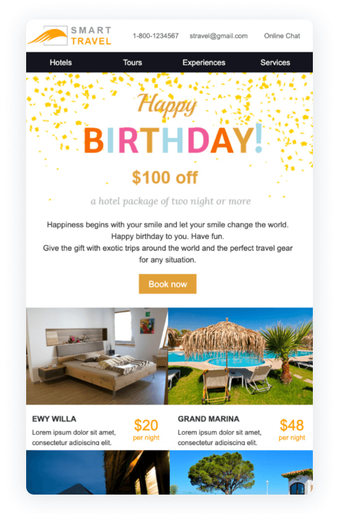 Email newsletter example - Happy Birthday