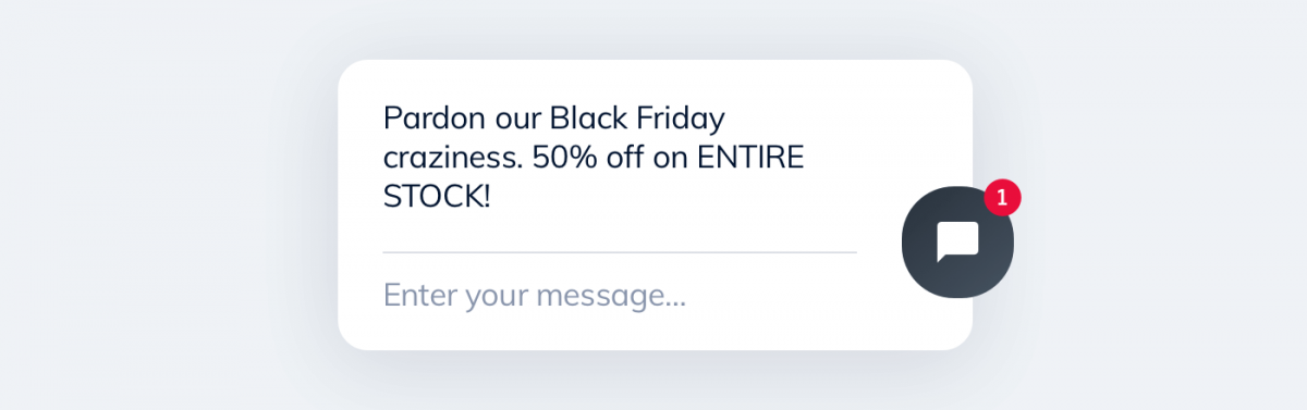 A Black Friday message about a discount