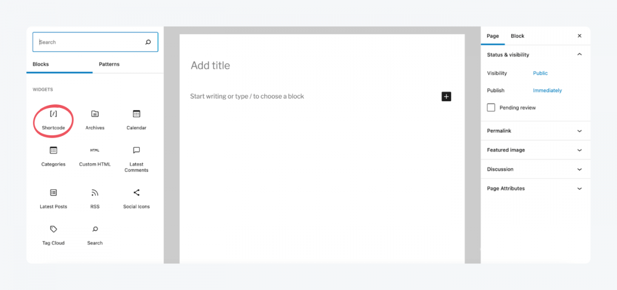 Shortcode block in WordPress