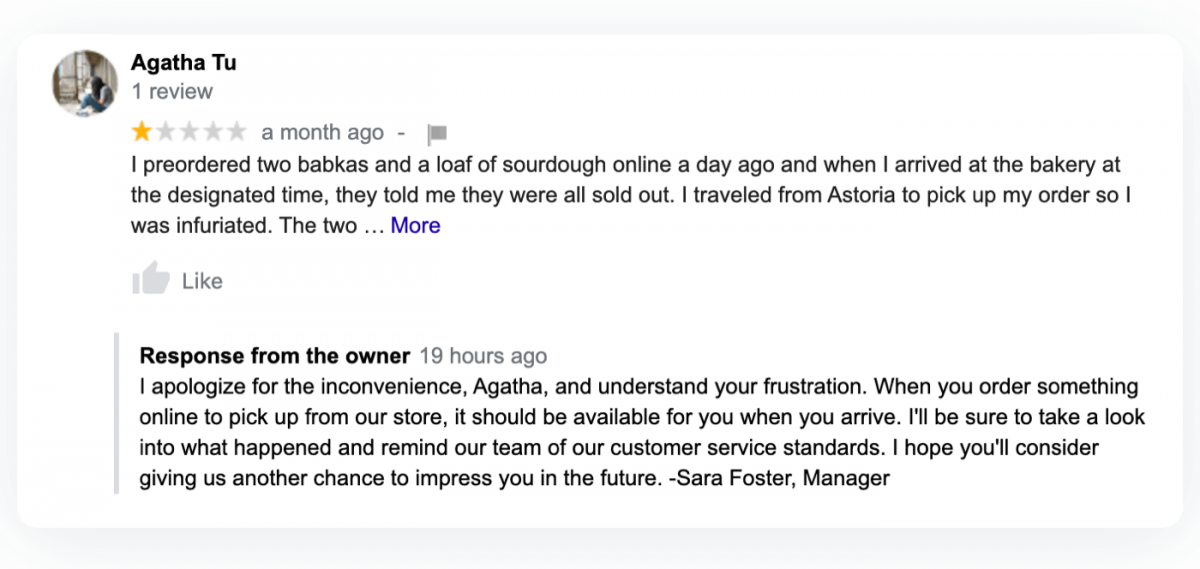 A response to a negative customer review