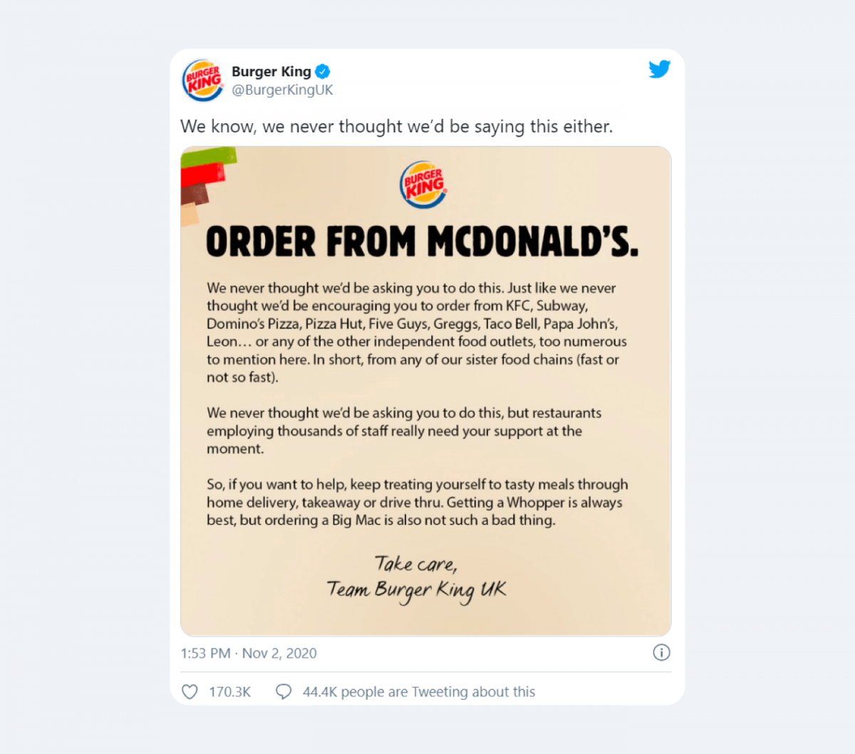 An example of a relationship marketing campaign by Burger King