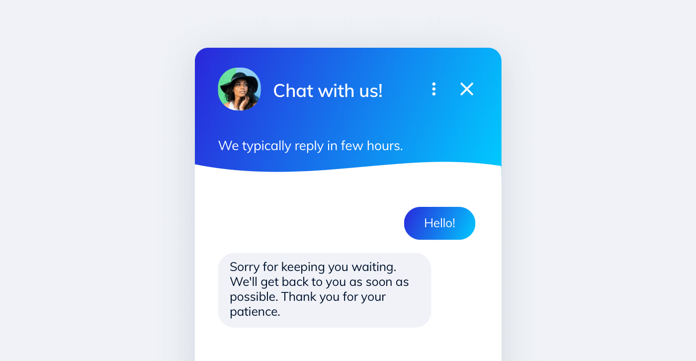 A chatbot informs about busy live chat operators