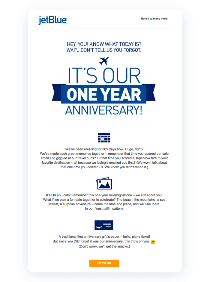 Automated email marketing example - Jet Blue