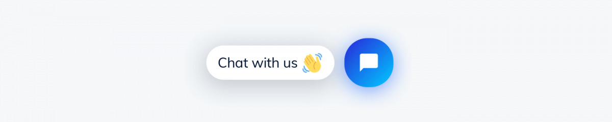 """Tidio chat icon with """"Chat with us"""" label"""