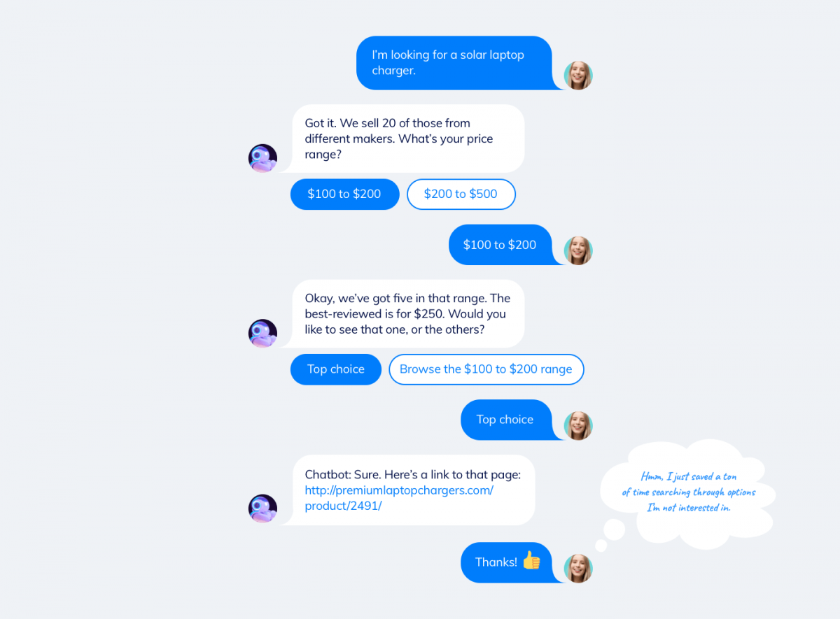 chatbot chat example. Chatbot assisting a customer who's looking for a specific product
