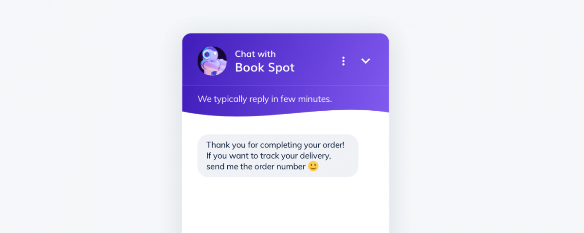 Example of a thank you message sent by a chatbot