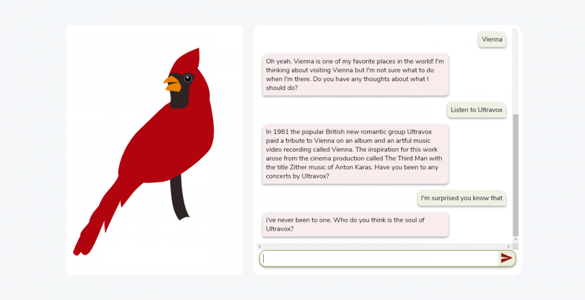Chirpy Cardinal chatbot example