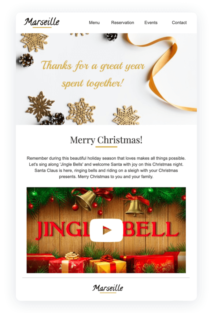Email newsletter example - Marseille Christmas