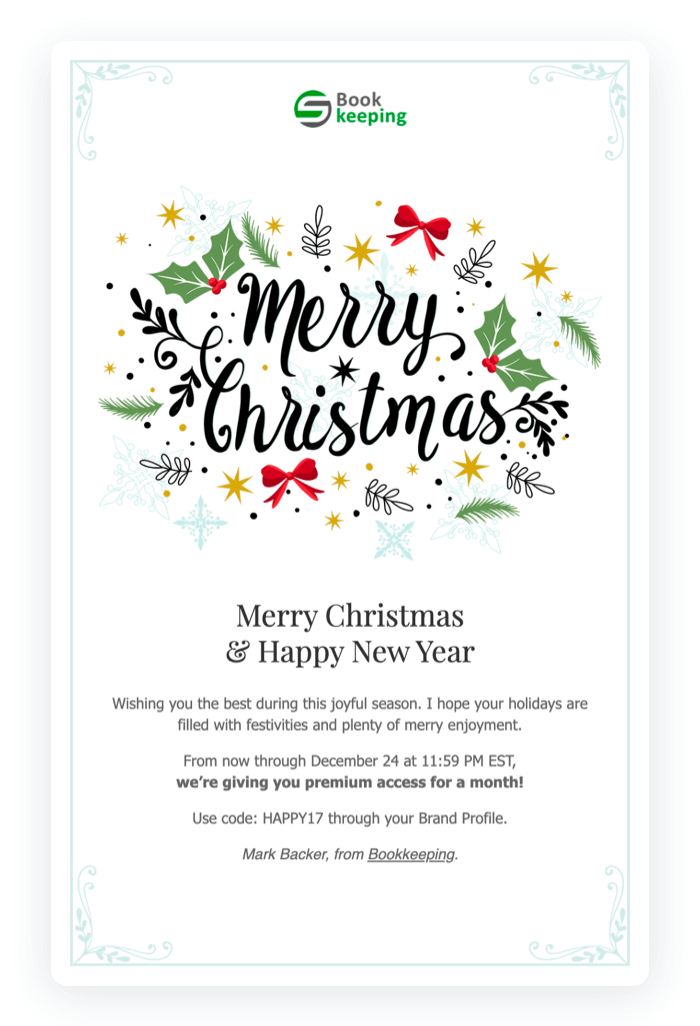 Email newsletter example - Merry Christmas