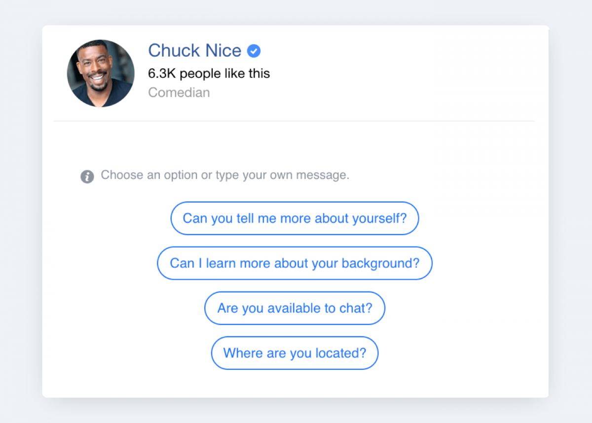 A facebook chatbot example (Chuck Nice)